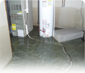 Basement water heater leak water damage
