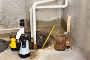 Sump pump overflow in a basement