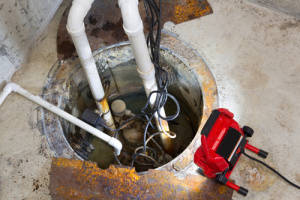 sump pump overflow water damage basement Wallington