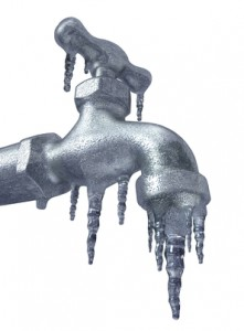 Water damage frozen faucet with the ice Hardwick