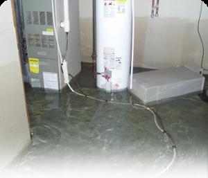 Basement water heater leak water damage