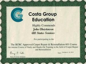 IICRC Carpet Repair Certificate