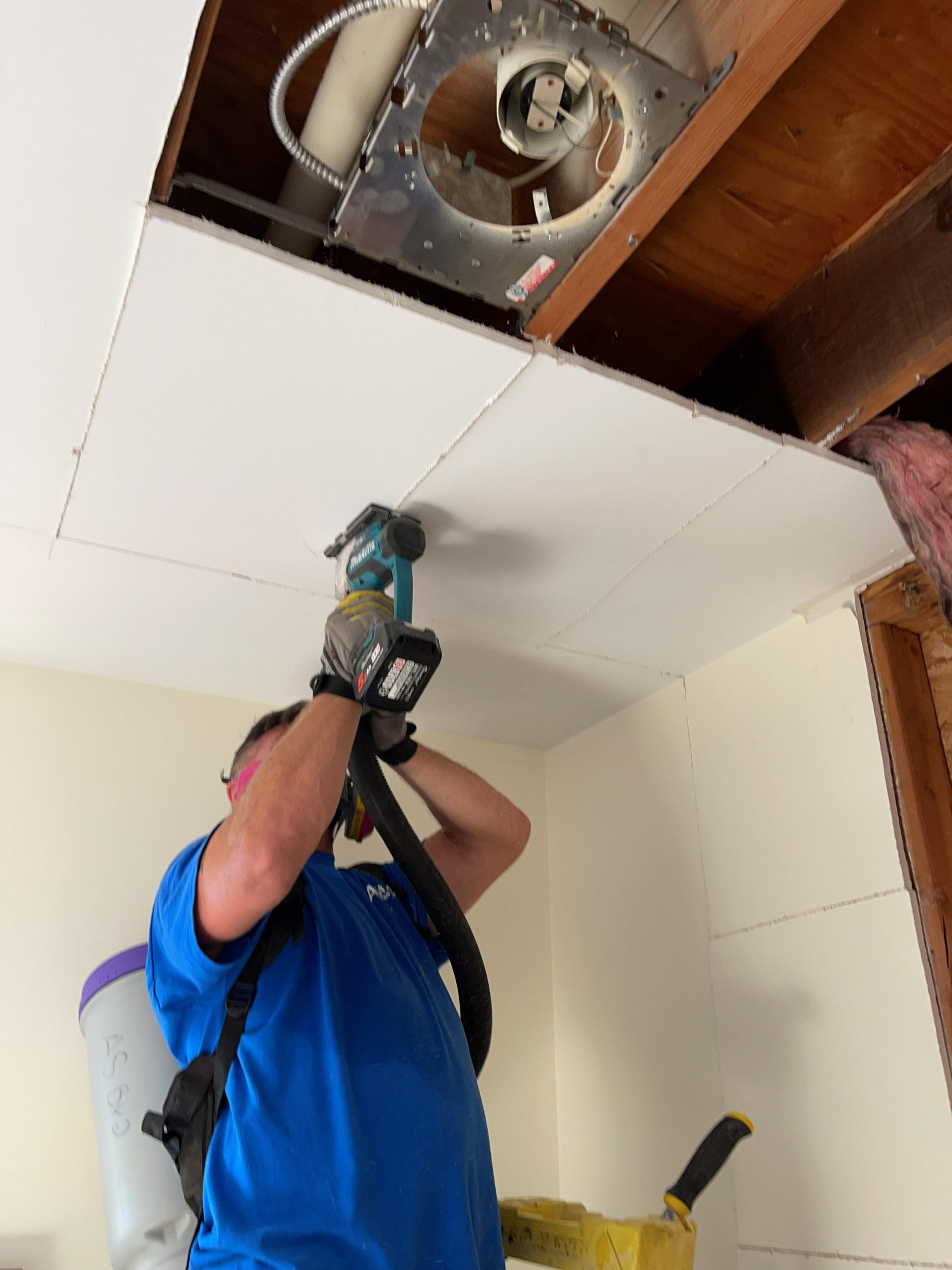 Cutting Damaged and Wet Ceiling