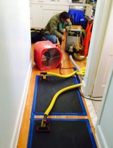 Hardwood floor water damage drying NJ