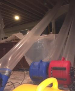 Drywall ceiling water damage from fire sprinkler pipe leak
